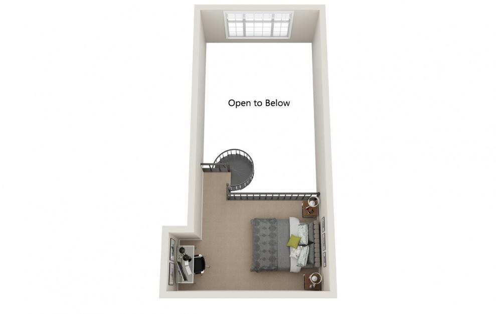 Springvale Loft - 2 bedroom floorplan layout with 1 bath and 1223 square feet. (Floor 2)